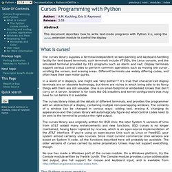 Curses Programming with Python — Python v2.7.2 documentation
