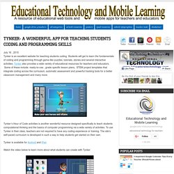 Educational Technology and Mobile Learning: Tynker- A Wonderful App for Teach...