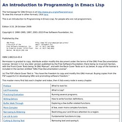 Programming in Emacs Lisp