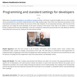 Programming and standard settings for developers - Alliance Headhunters Services