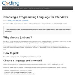 Choosing a Programming Language for Interviews