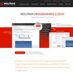 Wolfram Programming Cloud: Introducing a Programming Revolution