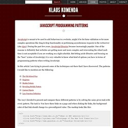 JavaScript Programming Patterns « klauskomenda.com