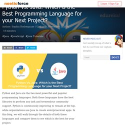Python Vs. Java: Which is the Best Programming Language for your Next Project?
