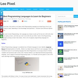 5 Best Programming Languages to Learn for Beginners