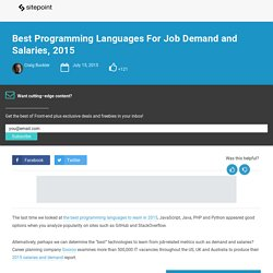 Best Programming Languages For Job Demand and Salaries, 2015