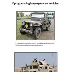 If programming languages were vehicles