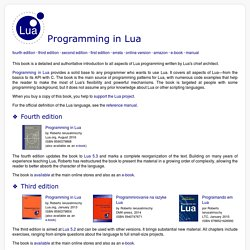 Programming in Lua : contents