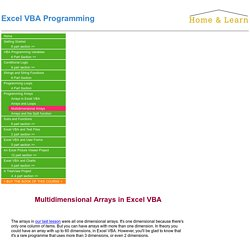 Excel VBA Programming - Multidimensional Arrays