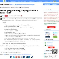 Which programming language should I learn first?