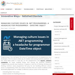 Managing culture issues in .NET programming, a headache for programmer – DateTime object