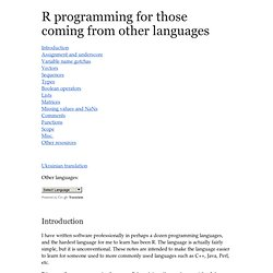 The R programming language for programmers coming from other programming languages