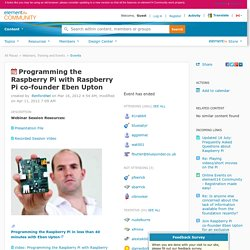 Programming the Raspberry Pi with Raspberry Pi co-founder Eben Upton