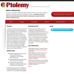 The Ptolemy Programming Language: Balancing Separation of Concerns and Modular Reasoning