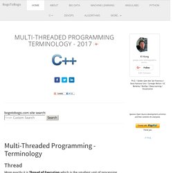 C++ Tutorial: Multi-Threaded Programming - Terminology 2016