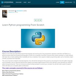 Learn Python programming From Scratch: vernonemrit