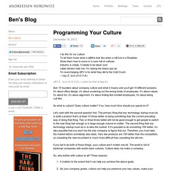 Programming Your Culture