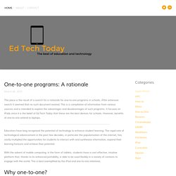 One-to-one programs: A rationale — Ed Tech Today