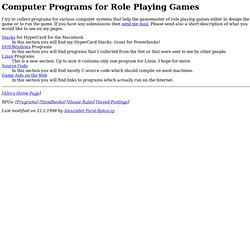 Programs for Role Playing Games