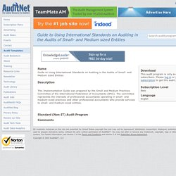 Audit Programs, Guides, and Templates - AuditNet