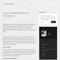 Course: Design and Implementation of Microservices - ProgramUtvikling