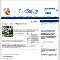 FOOD SAFETY MAGAZINE - MARS 2014 - Progress on the ISO 22000 Front