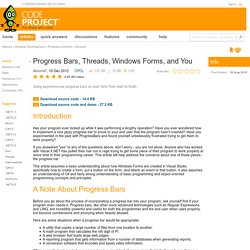 Progress Bars, Threads, Windows Forms, and You