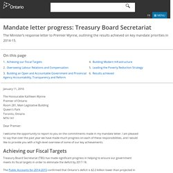 Mandate letter progress: Treasury Board Secretariat