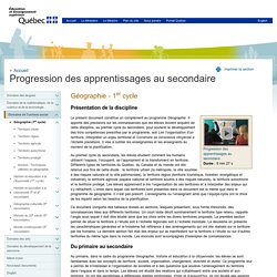 Progression des apprentissages au secondaire