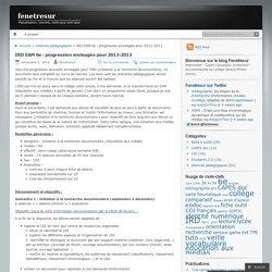 IRD EAM 6e : progression envisagée pour 2012-2013