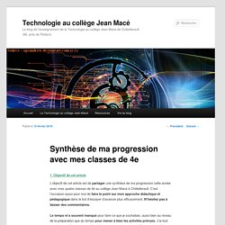 Synthèse de ma progression avec mes classes de 4e