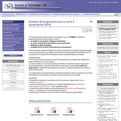 Exemple de progression pour le cycle 3 (programmes 2016) - Sciences et Technologie - Lot