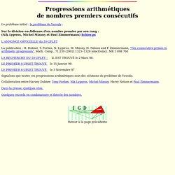Progressions arithmetiques de nombres premiers consecutifs