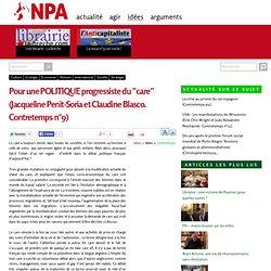 """Pour une POLITIQUE progressiste du """"care"""" (Jacqueline Penit-Soria et Claudine Blasco. Contretemps n°9)"""