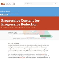 Progressive Content for Progressive Reduction