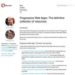 Progressive Web Apps: The definitive collection of resources