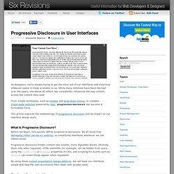 Progressive Disclosure in User Interfaces