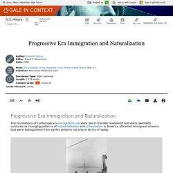 U.S. History - Document - Progressive Era Immigration and Naturalization