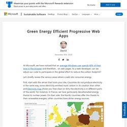 Green Energy Efficient Progressive Web Apps