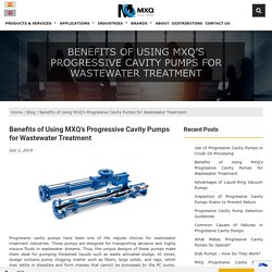 Benefits of Using MXQ's Progressive Cavity Pumps for Wastewater Treatment