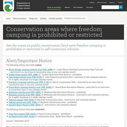 Prohibited or restricted conservation areas: Freedom camping