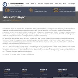 Oxford Bookes Project - Academic Assignment