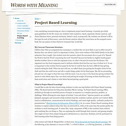 Project Based Learning - Words with Meaning