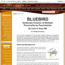 "Project ""Bluebird"" - Colin A. Ross MD"