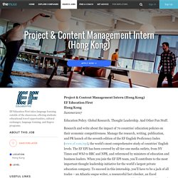 Project & Content Management Intern (Hong Kong)