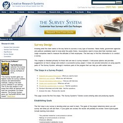 Survey Design - How to Begin your Survey Design Project - Creative Research Systems