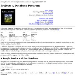 Simply Scheme:Project: A Database Program