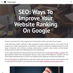 Project Name - SEO: Ways To Improve Your Website Ranking On Google