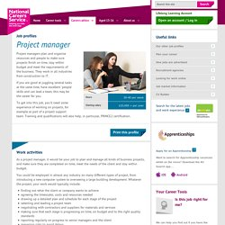 Project manager Job Information