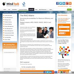 The RACI Matrix - Project Management Tools from MindTools